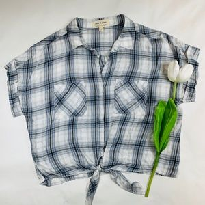 Cloth & Stone Plaid Short Sleeve Tie Front Shirt